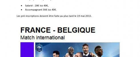 Le CE vous propose : Match France – Belgique